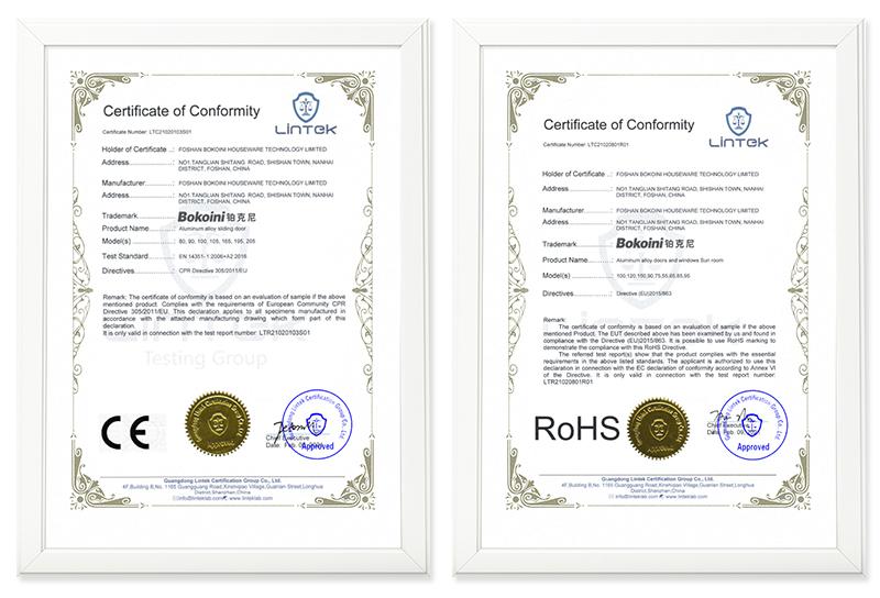 铂克尼门窗荣获欧盟CE与ROHS双认证,产品符合多国进出口标准!
