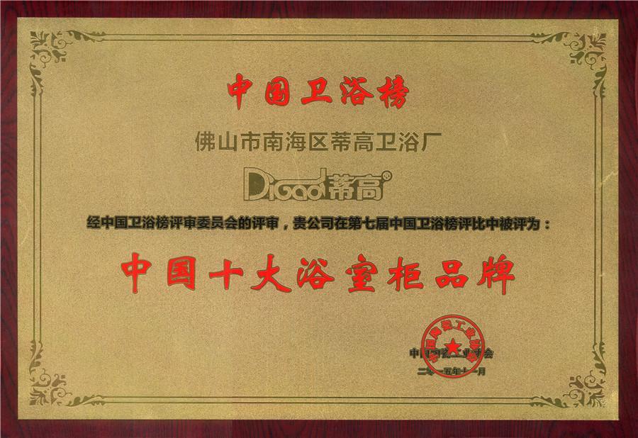 中国十大浴室柜品牌