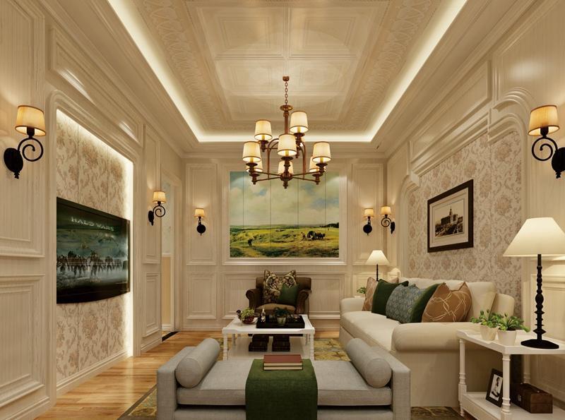 简欧风格客厅集成吊顶、集成墙面整装效果图