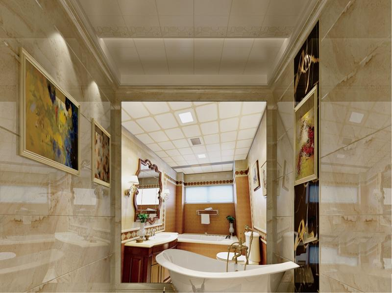 欧式风格卫生间(卫浴)集成吊顶、集成墙面整装效果图