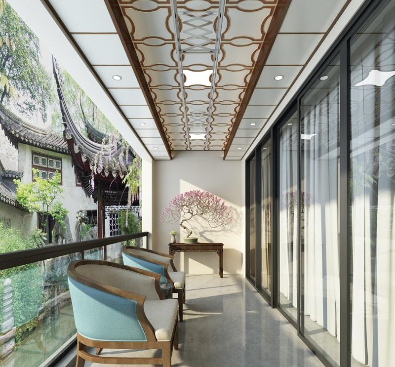 新中式风格阳台集成吊顶整装效果图